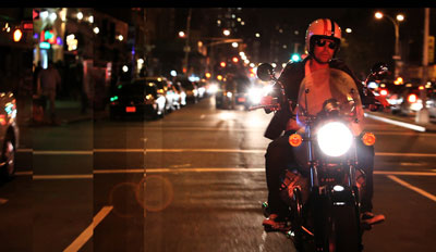 Andy Chase on motorcycle in Times Square