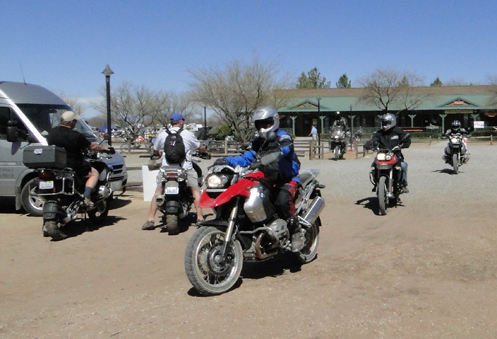 Bikes entering the motorcycle corral at the Overland Expo