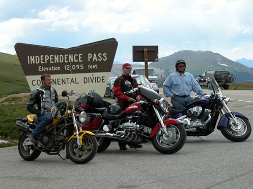 Bikers on top of Independence Pass