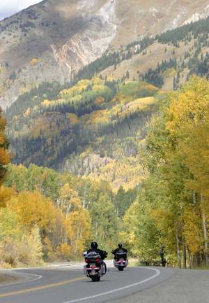 Motorcycles on Red Mountain Pass