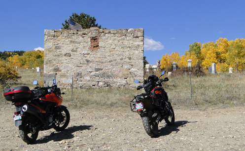 V-Strom and F800GS at old cemetery above Central City