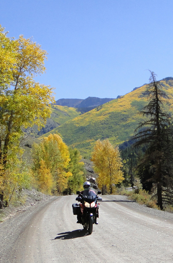 Dual-sport riding in the mountains in the fall
