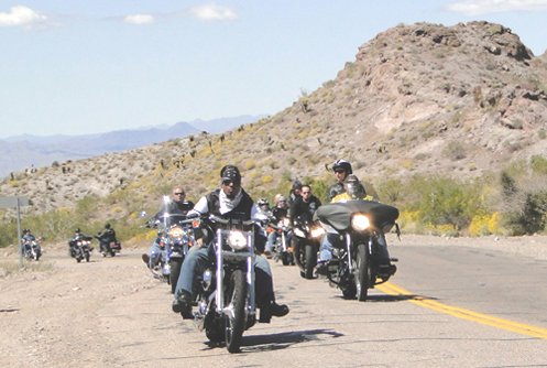 Riding to Oatman during the Laughlin River Run