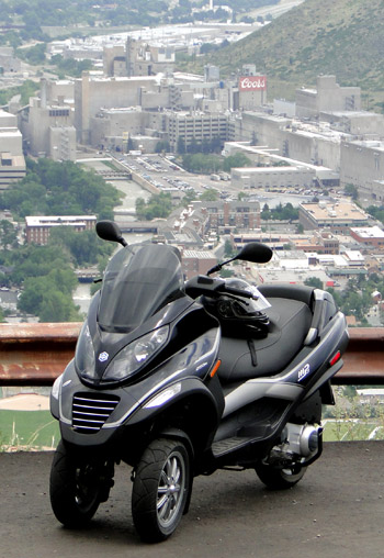 Piaggio MP3 above the Coors Brewery in Golden.