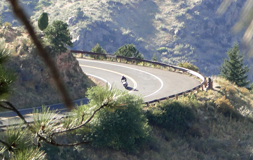 Motorcycle on the road up Lookout Mountain