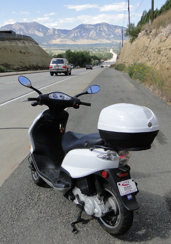 I rode the scooter to Boulder and back