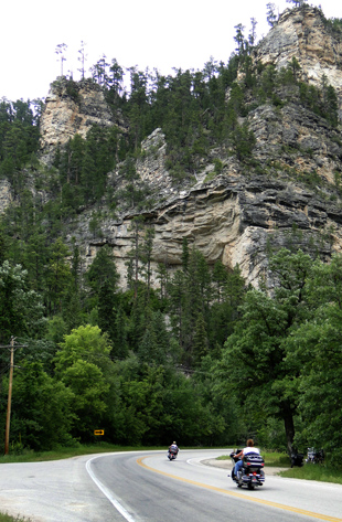 motorcycles in Spearfish Canyon