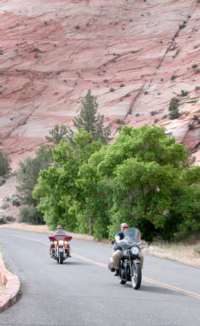 motorcycles in red-rock country