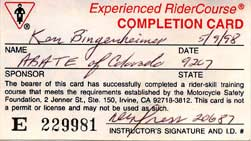 Experienced Rider card