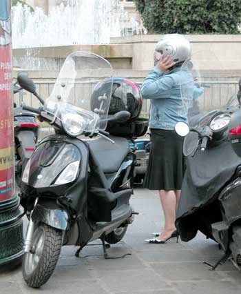 High heels and scooter in Paris