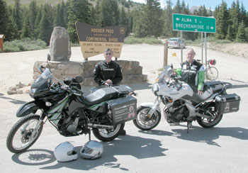 On top of Hoosier Pass with the KLR and Versys