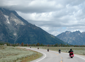 A row of motorcycles in Grand Teton